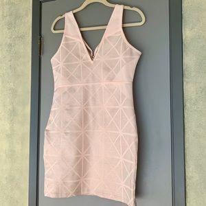 BeBe Spring Shimmer Peach Bodycon Dress